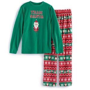 jammies for your families Pajamas - Boys Team Santa Top & Fleece Bottoms Pajama Set-3T